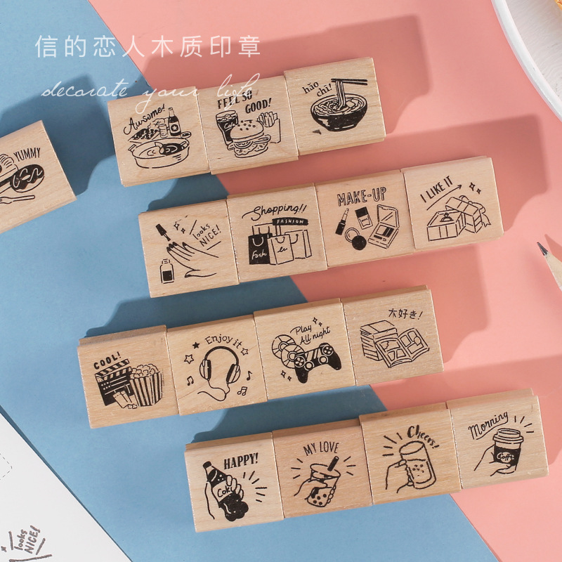 4Pcs Wooden Seal Set DIY Bullet Journal Daily Deco Planner Scrapbook Students Stationery Supplies4Pcs Wooden Seal Set DIY Bullet Journal Daily Deco Planner Scrapbook Students Stationery Supplies