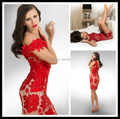Vestidos de Fiesta 2016 Red Scoop Cap Sleeve Lace Mermaid Party Dresses Backless Women's Formal Short Cocktail Dress