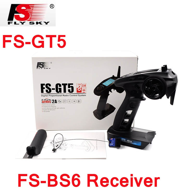 Flysky FS-GT5 2.4G 6CH Transmitter with FS-BS6 Receiver Built-in Gyro Fail-Safe for RC Car Boat spare parts free shipping цена и фото