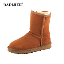 DADIJIER New Women Snow boots Fashion Quality Genuine Suede Leather Australia Classic Warm Winter shoes Snow Boots ST226(China)