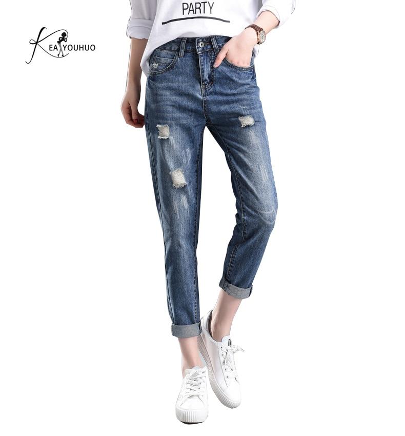 Summer Solid Wash Boyfriend ripped Female High Waist   Jeans   For Pencil Pants Denim   Jeans   Mom Long Pants Woman Plus Size 25-34
