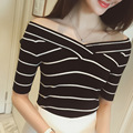2016 Summer Fashion T-Shirt Thin Slim Short Sleeved Shirt V-neck Knitted Striped Bottoming Stretch T-shirt A273