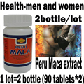 2 garrafas/lote 100% secos Peru Maca, 180 comprimidos de extrato de raiz de Maca em pó, orgânico puro maca peru, Saúde-homens e mulheres ree transporte