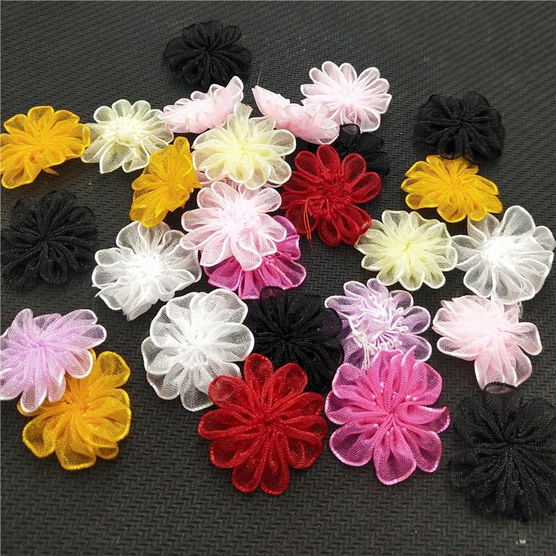 30PCS Velvet Gitter Ribbon Bows Flowers Appliques Wedding 60MM