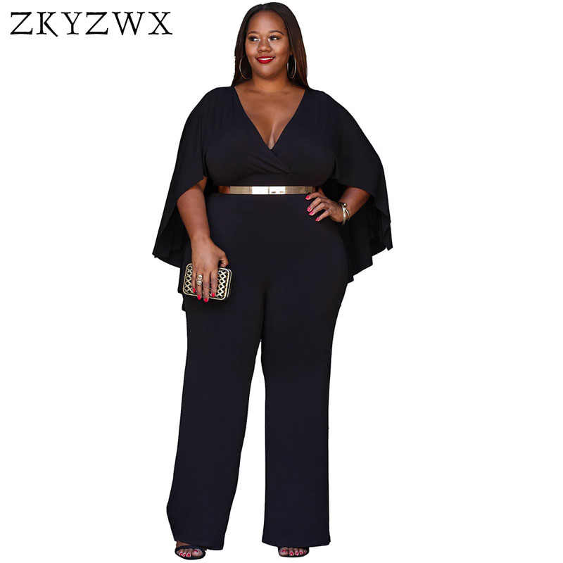 29aa84f26fc1 ZKYZWX 2018 Sexy Elegant Women Jumpsuit Autumn Long Pants V Neck Cloak  Bodysuit Rompers 2018 Loose
