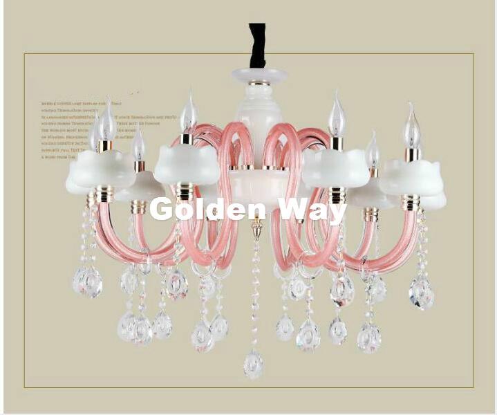 Free Shipping Modern Girl Living Room Chandelier Bedroom Lamp Lighting Pink White Jade Shade Crystal Lustre E14 Candle Lights