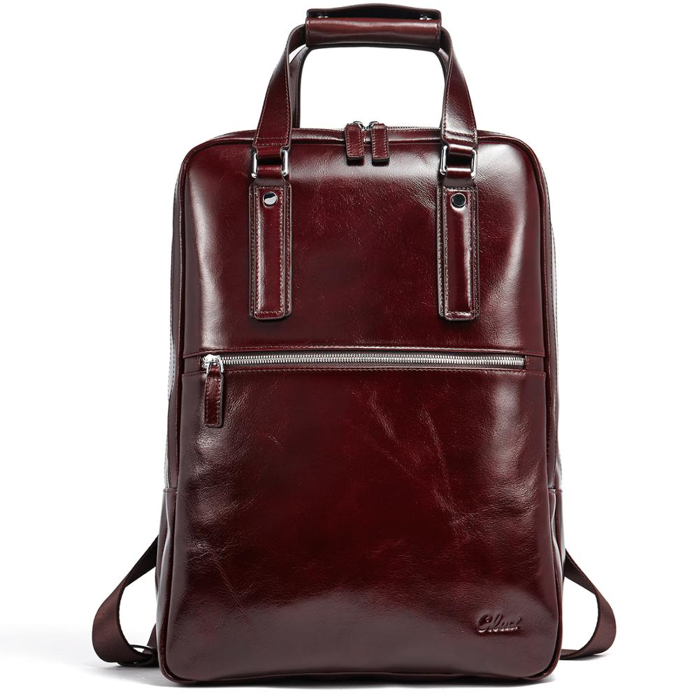 Backpack for Men Oil Wax Genuine Leather Vintage Large Capacity Business Travel Bag Fit 15 6