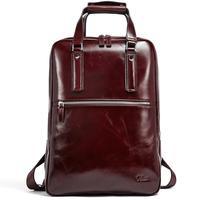 Рюкзак для мужчин масло воск Натуральная кожа Винтаж большой емкости Бизнес Дорожная сумка подходит 15,6 дюймов ноутбук коричневый