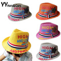 Straw Hat for Kids 2015 New Arrive Fedoras Boy Straw Sun Hats Summer Children Panama Jazz Caps Sombrero de Paja Ninos YY0117