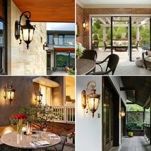 Vintage LED Outdoor Wall Light Waterproof Porch Outside Lamps E27 Bulb Exterior Garden Balcony Black Bronze Yard Home Lighting