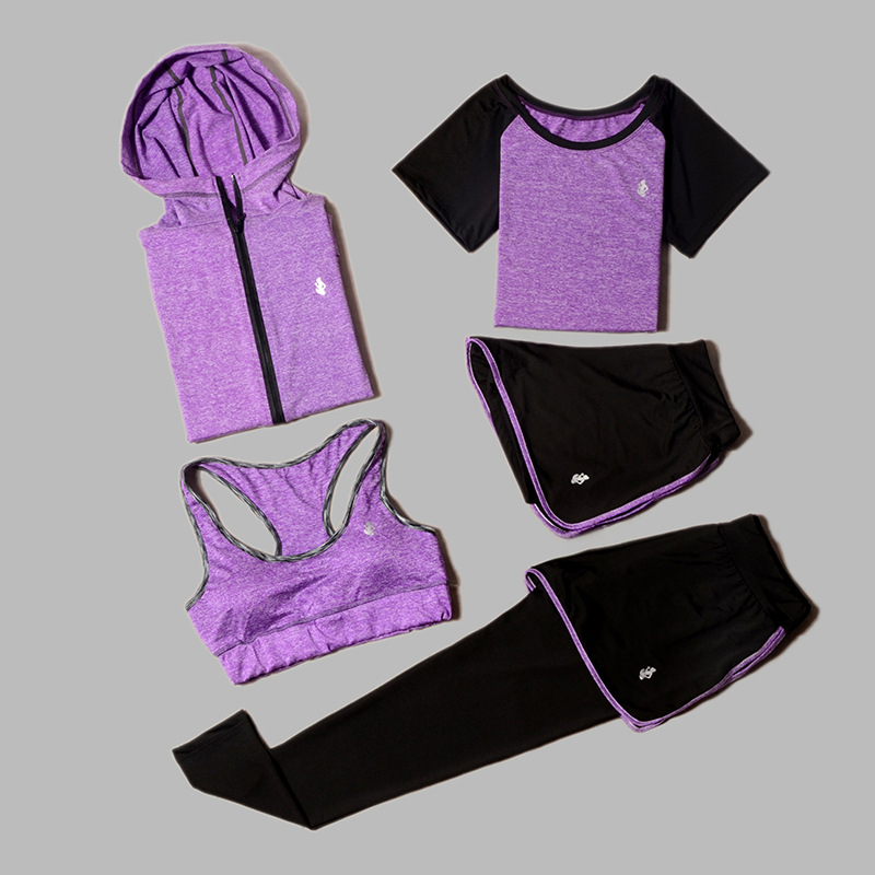 High waist pants + hooded jacket +T-shirt + bra + yoga women's pants 5 sets of outdoor running quick-drying sports fitness suits