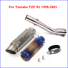 Motorcycle Exhaust Pipe Muffler Tip Escape Connector Link Tube Pipe Exhaust System for Yamaha YZF R1 1998-2003