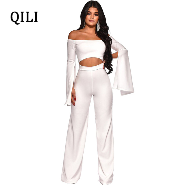 423e2a93c5bc QILI Women Off Shoulder Split Long Sleeve Jumpsuits Rompers Hollow Out Wide  Leg Jumpsuit White Blue Red Fashion Casual Jumpsuits