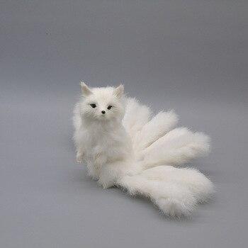 large 28x16cm simulation fox with nine tails model polyethylene&furs jump-up white fox photography prop,decoration gift b0398