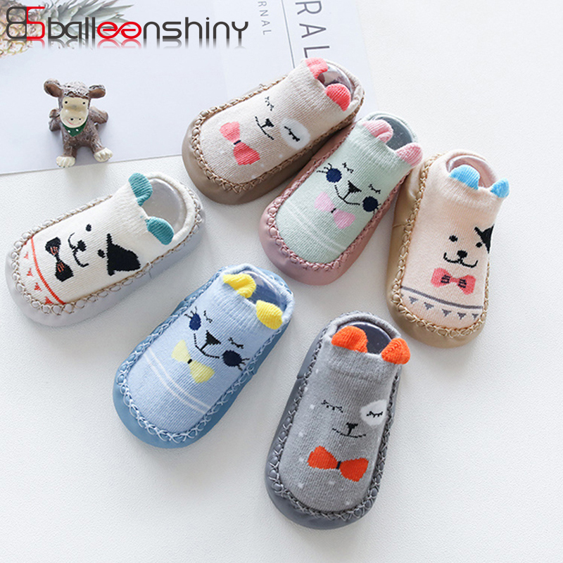 BalleenShiny Cartoon Toddler Shoes Socks Baby Boys Girls Non-skid Floor Socks Children Kids Indoor Leather Sole Thick Towel Sock