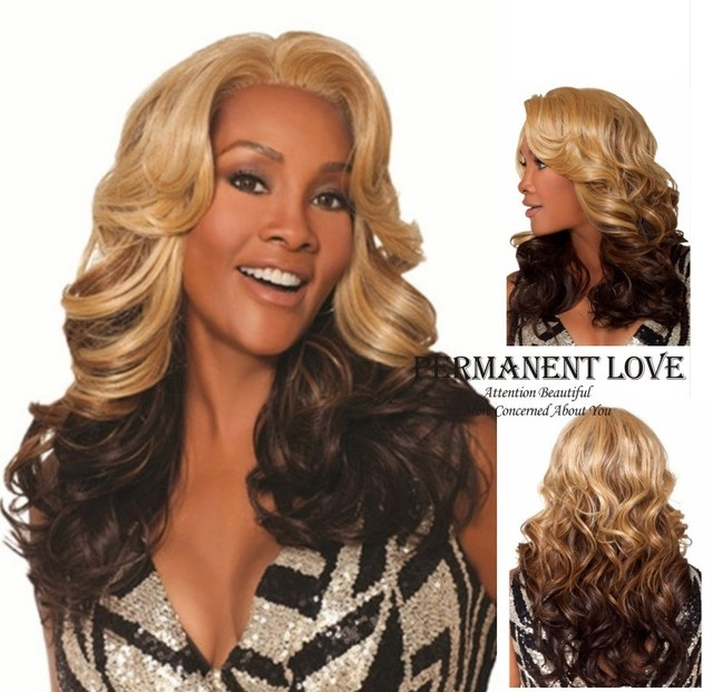 Ombre two tone synthetic light brown rooted dark brown Wig Heat Resistant long deep wave u part hair wigs for black Women Peruca