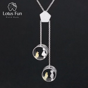 Image 1 - 蓮楽しいリアル 925 スターリングシルバークリエイティブ手作りファインジュエリーかわいい会議愛猫ネックレスなしで女性のための