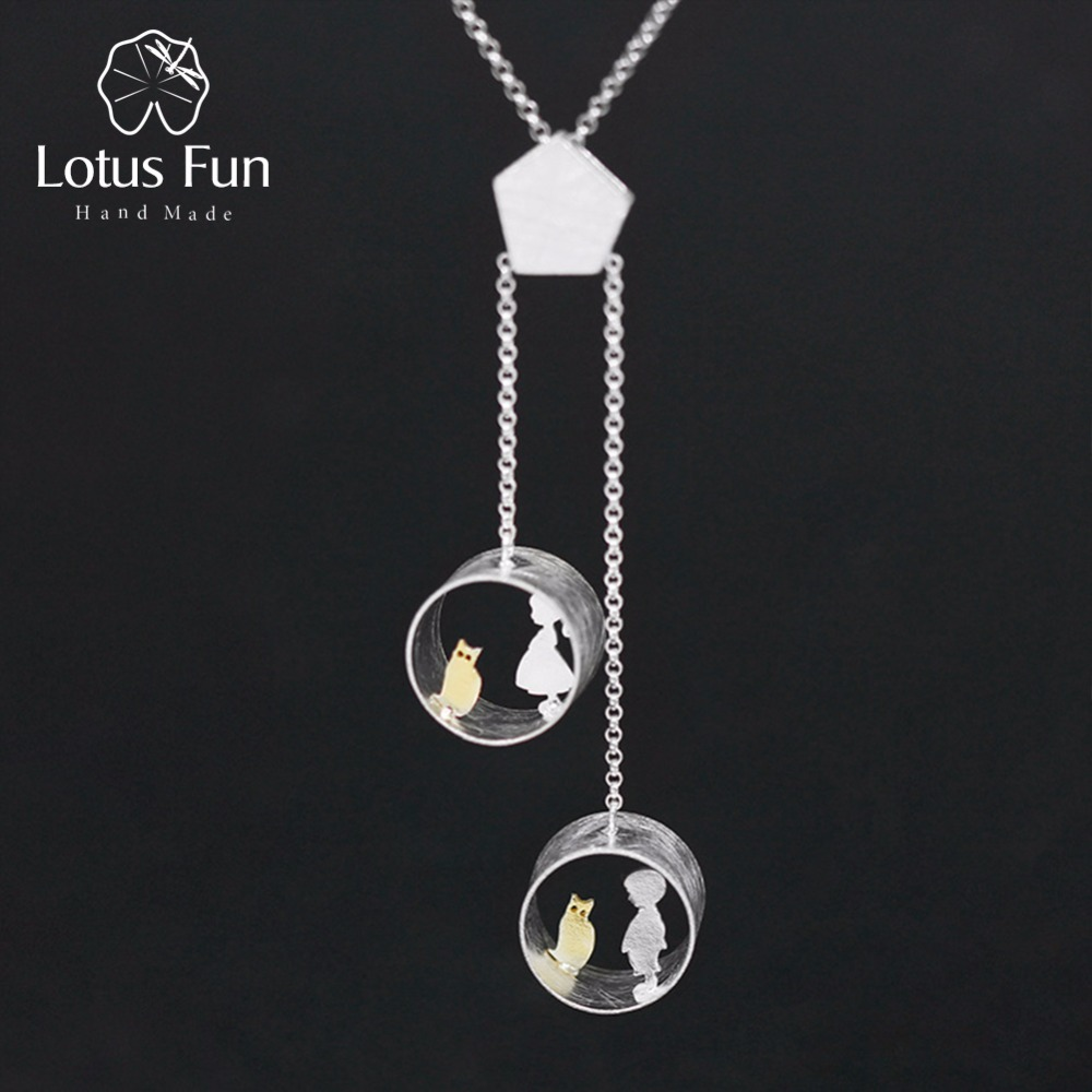 Lotus Fun Real 925 Sterling Silver Creative Handmade Fine Jewelry Cute Meeting Love With Cat Pendant Without Necklace For Women