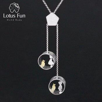Lotus Spaß Echt 925 Sterling Silber Kreative Handgemachte Feine Schmuck Nette Treffen Liebe Mit Katze Anhänger ohne Halskette für Frauen