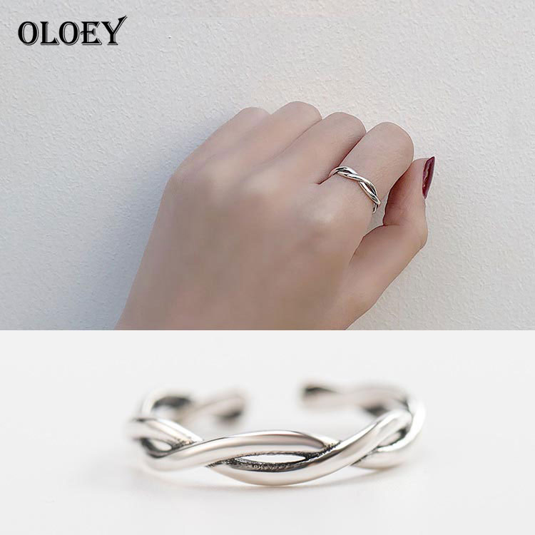 OLOEY Vintage Cross Simple Line Finger Rings Women Solid 925 Sterling Silver Opening Adjustable Ring Bague Fine Jewelry YMR115