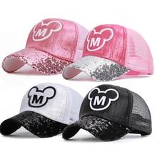 Hats Baseball-Cap Snapback Spring Sequins Ear-Girl Funny Pink Kids Summer Ears Boy