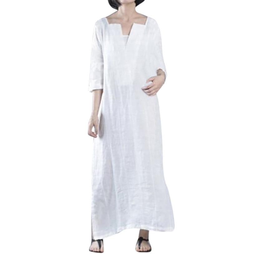 Plus Size Dress Women Ethnic Loose Maxi Dress Long Sleeve V Neck Party Dress Cotton Vestido De Festa Longo Wholesales #F#40AT27