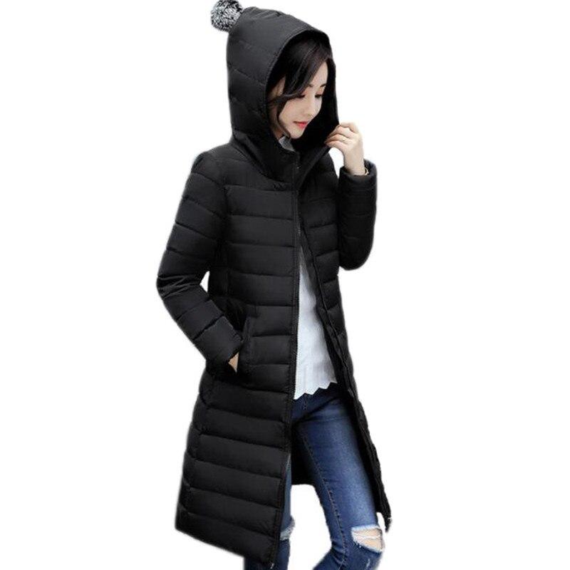 555d1fb8f3 2017 hooded long women winter coat solid color black pink womens coat plus  size 3XL parka padded jaqueta feminina inverno ZZ212