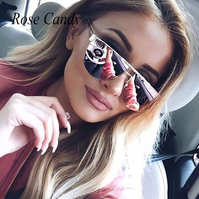 d3b3bd2e2d4 Flat Top Pilot Brand Designer Mirror Metal Temple Sunglasses Lady UV400  Women Men Sun Glasses Pink Champagne Female