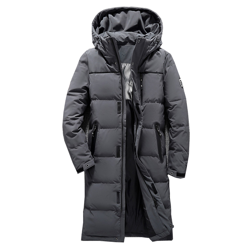 2018 Men's Winter Jacket Long   Down     Coats   Men White Duck   Down   jacket Male Slim Fit Warm Parka Tace & Shark High Quality Long   Coat