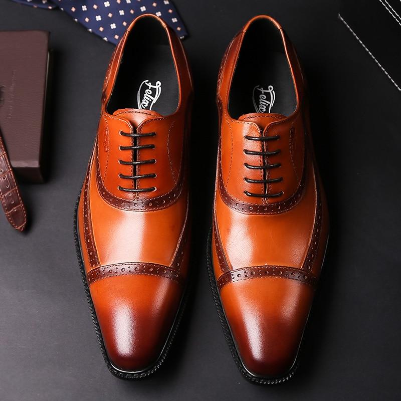 2019 العلامة التجارية الجديدة جلد أصلي للرجال الرسمي الأحذية وأشار اصبع القدم الدانتيل يصل الأعمال الرجال أكسفورد الأحذية الأسود البني الفاخرة الأحذية الذكور-في أحذية رسمية من أحذية على  مجموعة 1