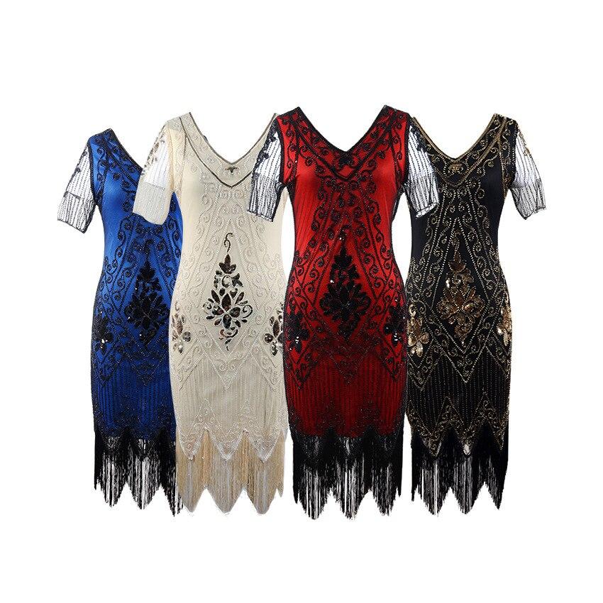 Livraison gratuite Quanzhou Walson femmes paillettes robe v-cou glands perlée robe de soirée 1920 s Vintage Ballroom robes en or