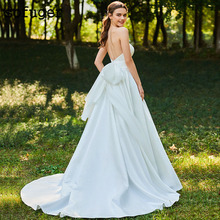 White Ivory A Line Strapless Satin Big Bow Back Wedding Dresses Court Train Bridal Gown Vestidos de Noivas Custom