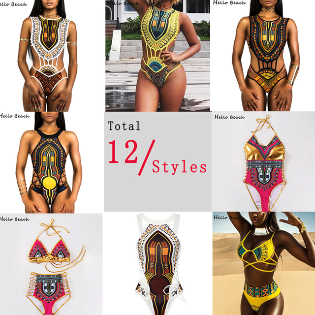 HELLO BEACH 2018 New One Piece Swimsuit Bandage bodysuit African Printed Swimwear Female High Cut Monokini Sexy High Neck 4