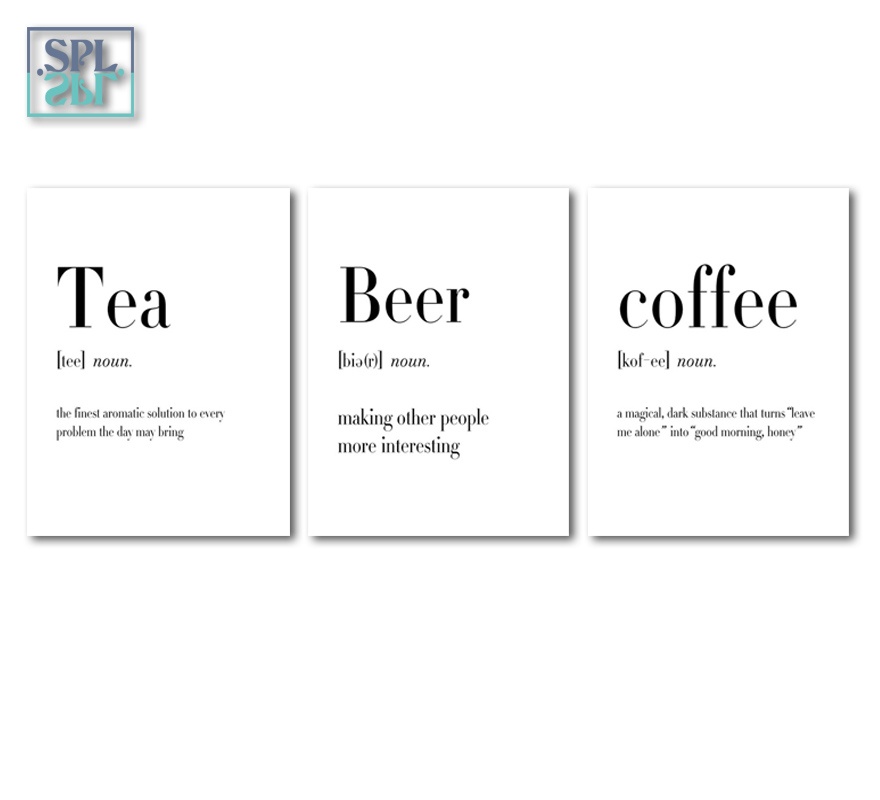 Black White Food Coffee Quotes A4 Posters Nordic Kitchen Room Wall Art Canvas Painting No Frame With Free Shipping Worldwide Weposters Com