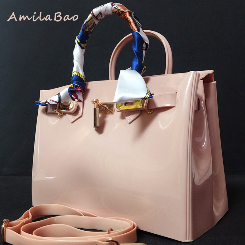 luxury handbags women bags  handbag furly candy bag fashion PVC Silicone jelly handbags lock ribbons Beach bags with scarf