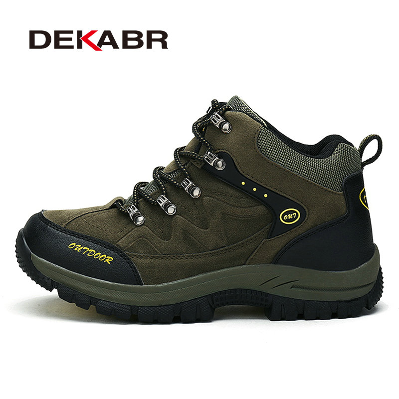 DEKABR Wear Resistant Men Hiking Shoes Waterproof Trekking pu Leather Shoes New Breathable Climbing Outdoor Shoes Big Size 36~48 humtto new hiking shoes men outdoor mountain climbing trekking shoes fur strong grip rubber sole male sneakers plus size