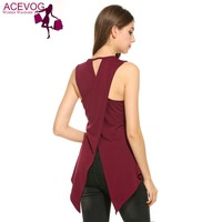 ACEVOG Summer 2017 Vest Women Casual Sleeveless O Neck Solid Slim Split Tank Top Back Cross