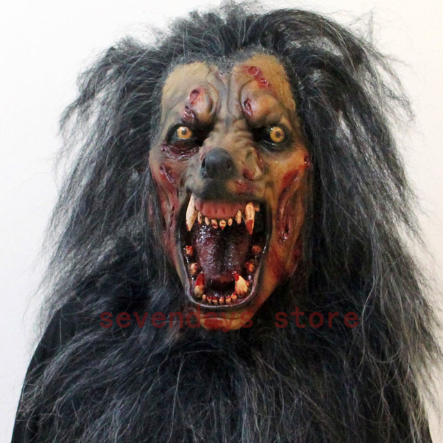2018 creepy gray werewolf wolf mask fancy dress party prop cosplay animal head mask costume toys