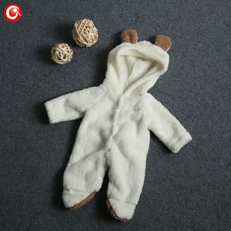 2016 Cute Winter Warm longsleeve coral fleece infant baby Romper cartoon winter Jumpsuit boys girls animal overall menino menina (1)