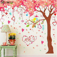 Large 360 200cm Red Cherry Tree Stickers Living Room TV Background Wall Paper Bedroom Wedding Room