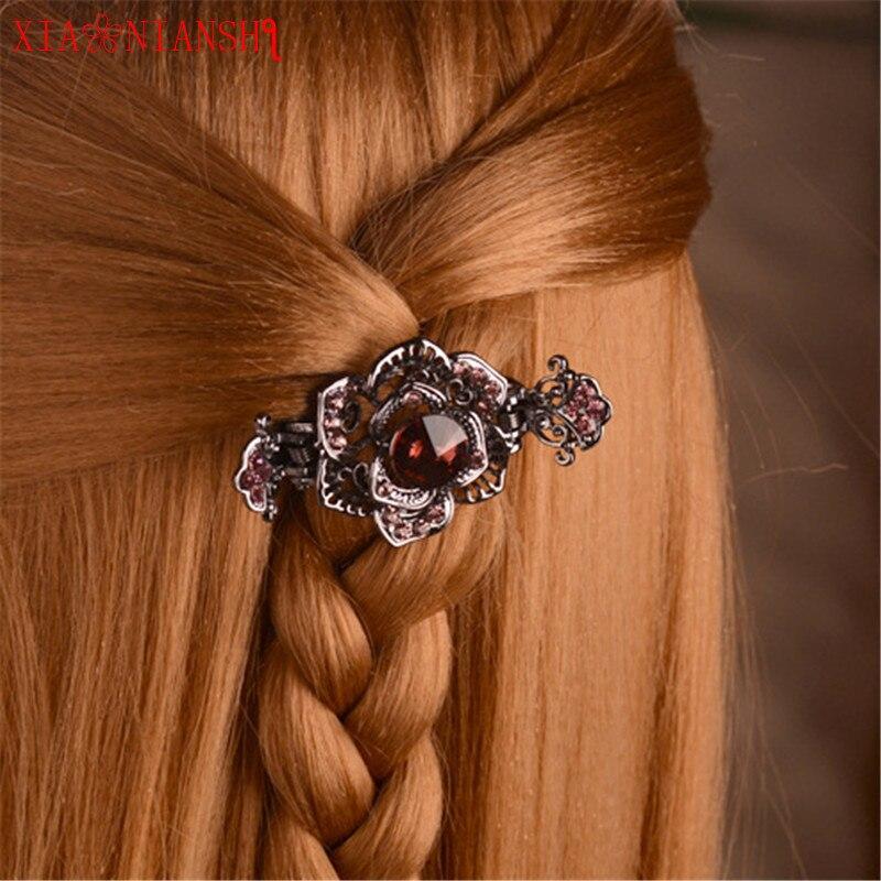Strat de lux de cristal de păun și de flori de gheare de păr - Bijuterii de moda - Fotografie 6