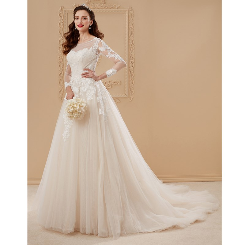 LAN TING BRIDE A-Line Princess Illusion Neckline Chapel Train Tulle Over Lace Custom Wedding Dresses with Appliques Draping