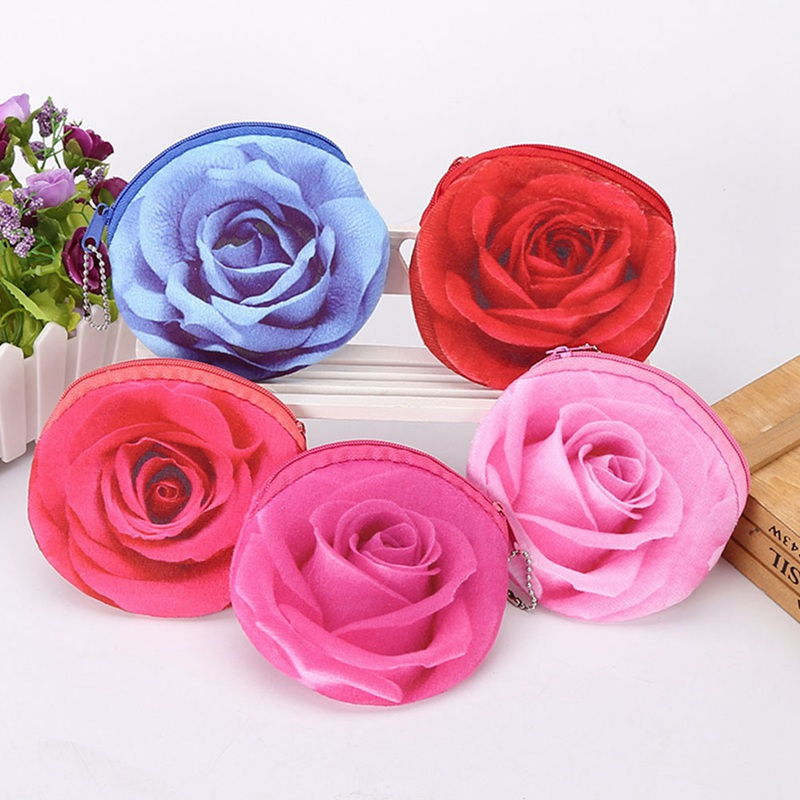 Lovely Women Children Girls Flannel Coin Purses Money Bag Pouch Kids Small 3D Rose Flower Wallets Coin Case Holders Color Random