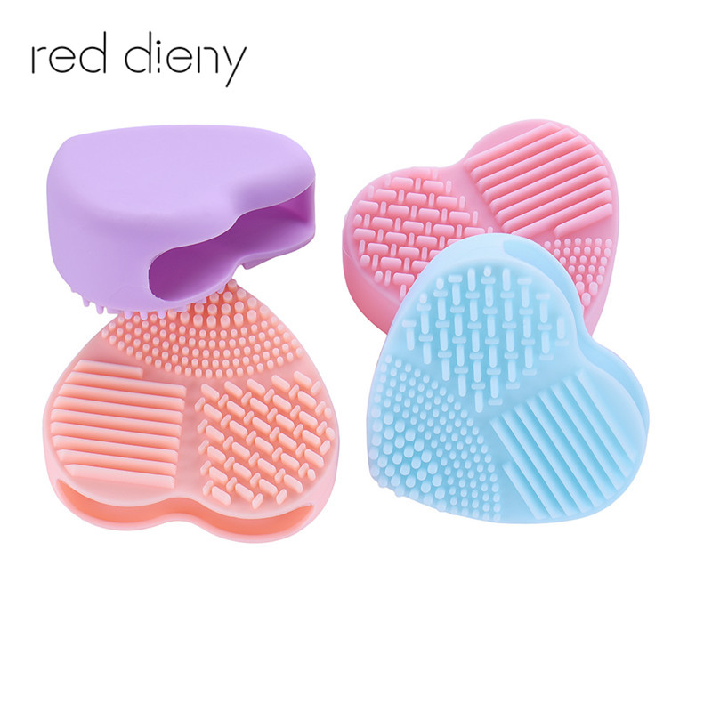 Skin Care Cheap Sale 5 Colors Hot Sale Heart Shape Clean Makeup Brushes Silica Glove Scrubber Board Cosmetic Cleaning Tools For Makeup Brushes