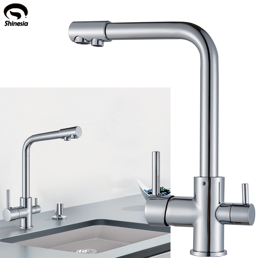 Shinesia Filter Kitchen Faucets Deck Mounted Mixer Tap 360 Rotation with Water Purification Features Mixer Tap