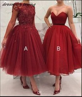 Long Sleeves Red Short Prom Dresses A And B Style Ball Gown Tulle Burgundy Tea Length Evening Party Dress Vestido Festa 2019
