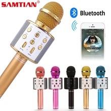 Microfone sem fio bluetooth ws858 karaoke, alto falante, versão de alta qualidade, microfone ktv player, telefone para conferência de palco de computador