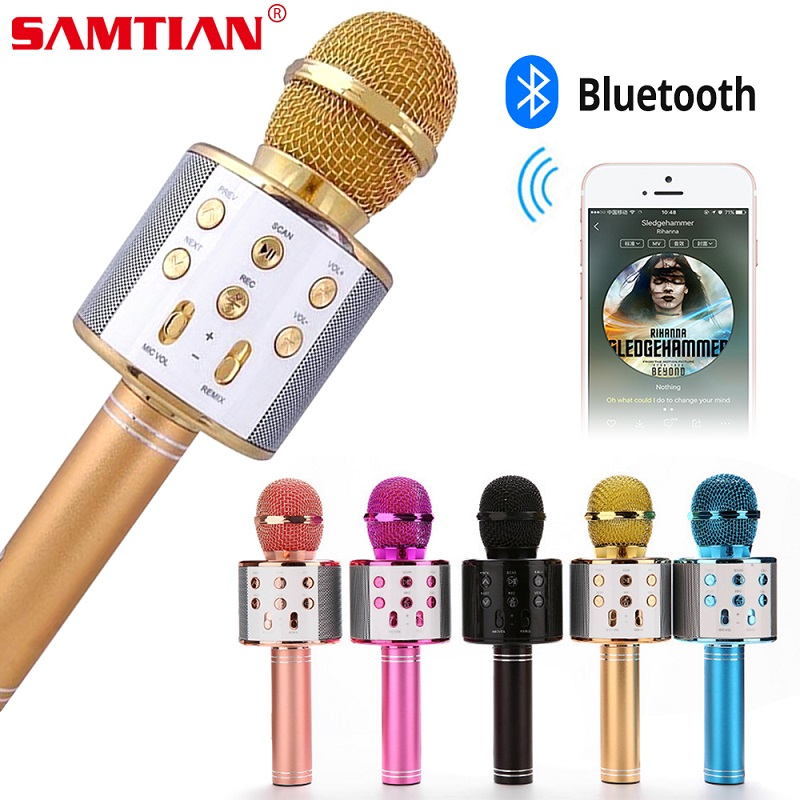 WS858 Wireless Bluetooth Microphone Karaoke Speaker High-end Version Mic KTV Player Phone Mike For Computer Stage Conference