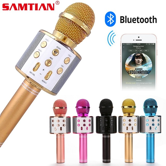 WS858 Wireless Bluetooth Microphone Karaoke Speaker High end Version Mic KTV Player Phone Mike For Computer Stage Conference