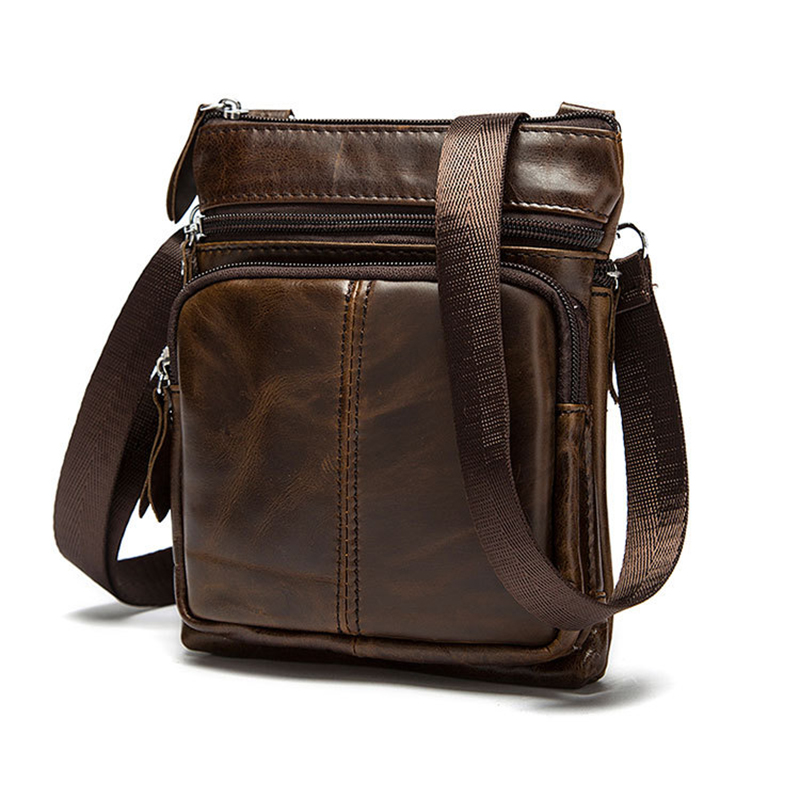 Genuine Leather shoulder bags men Crossbody Bag Designer Natural cowhide Shoulder Bags Vintage Small Flap Pocket Handbag-in Crossbody Bags from Luggage & Bags